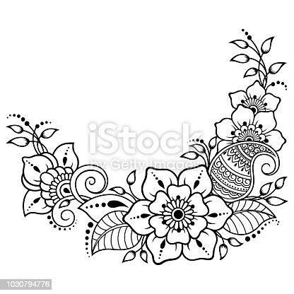 ilustra o de mehndi flor padr o para desenho de henna e tatuagem decora o em estilo tnico. Black Bedroom Furniture Sets. Home Design Ideas