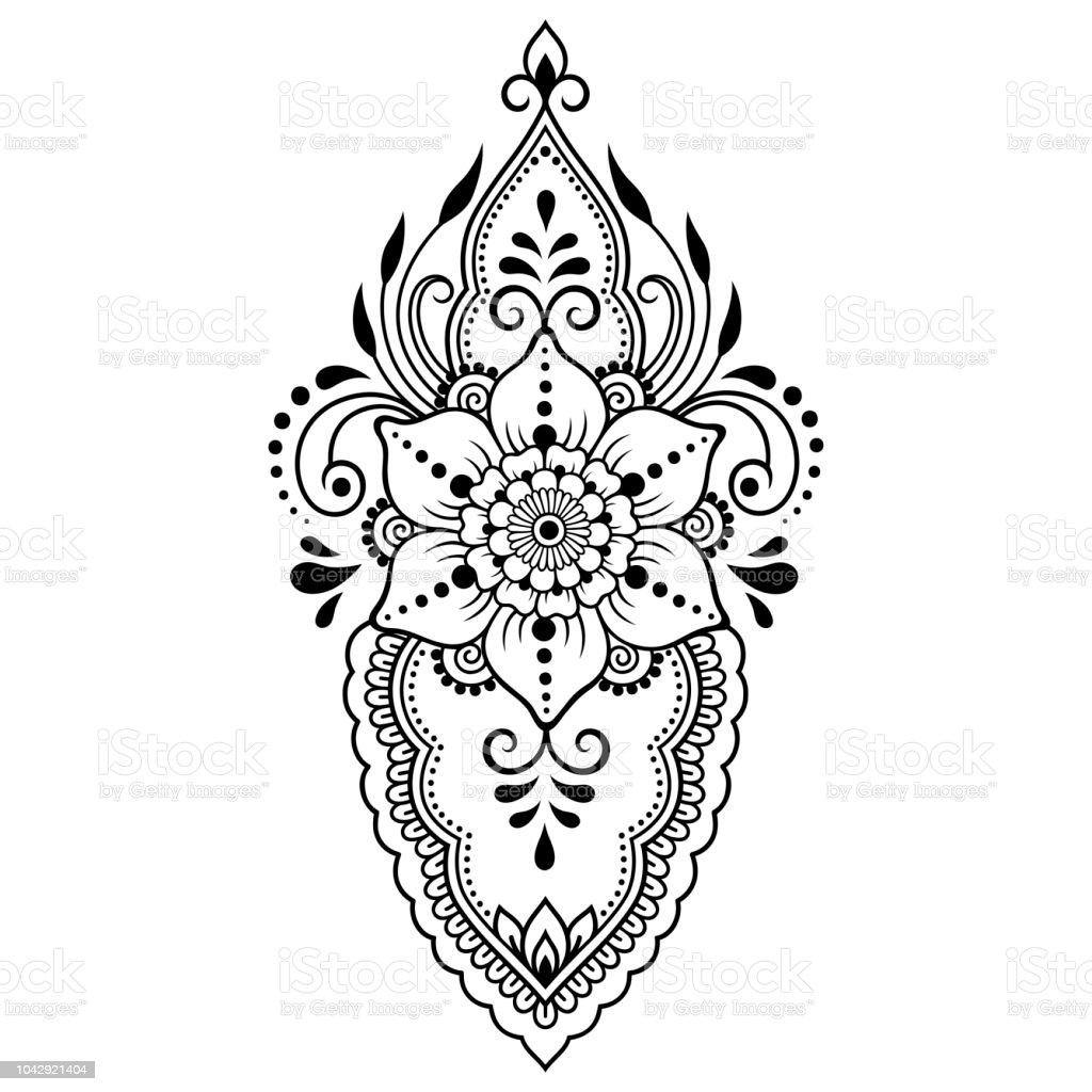 Vetores De Mehndi Flor Padrão Para Desenho De Henna E