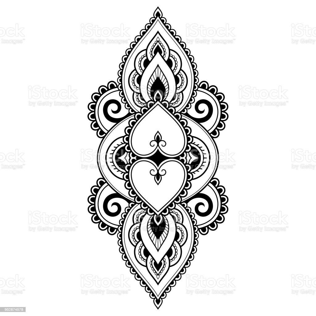 Ilustracion De Patron De Flor Mehndi Para Dibujo De Henna Y Tatuajes