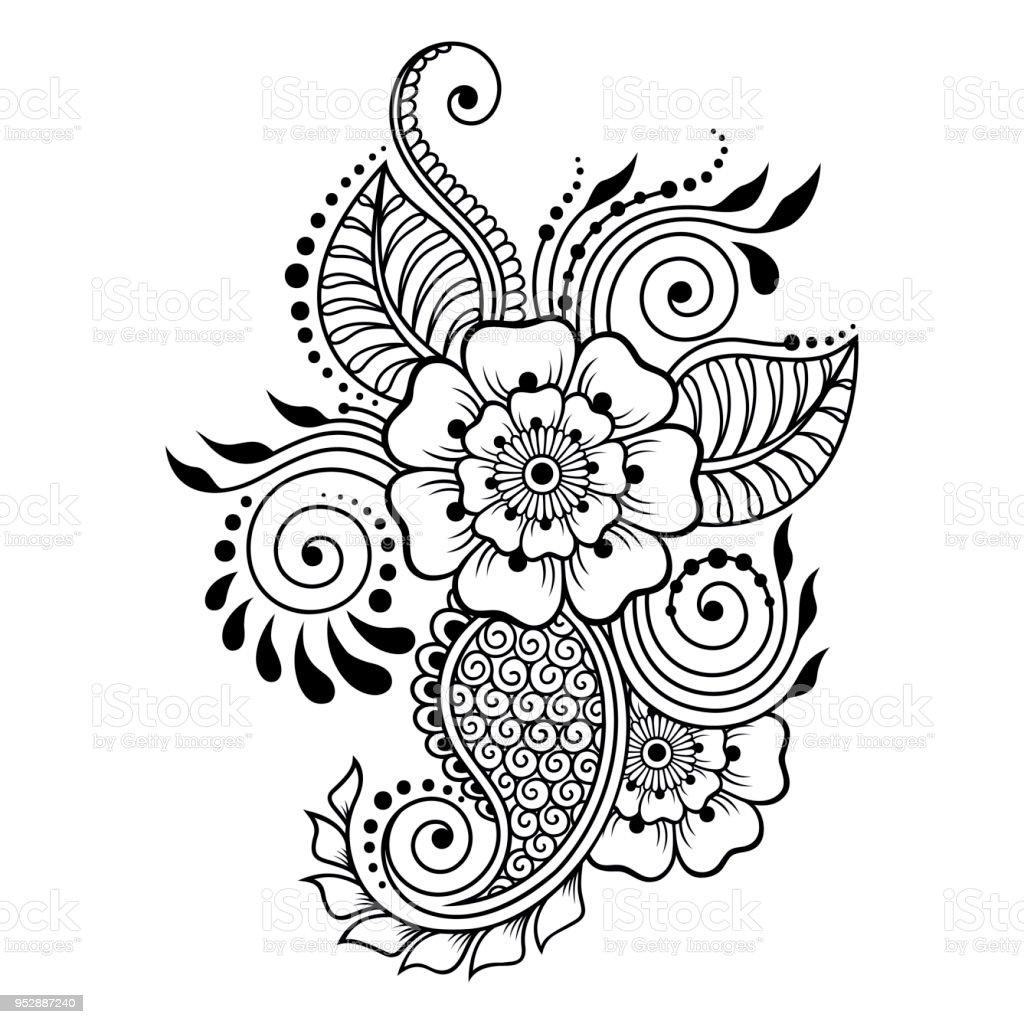 Ilustracin de Patrn De Flor Mehndi Para Dibujo De Henna Y Tatuajes
