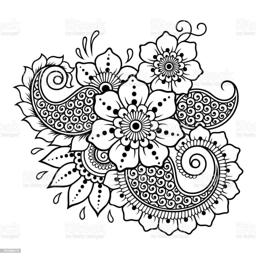 mehndi sport motif fleurs pour le dessin de henn et de tatouage d coration de style oriental. Black Bedroom Furniture Sets. Home Design Ideas