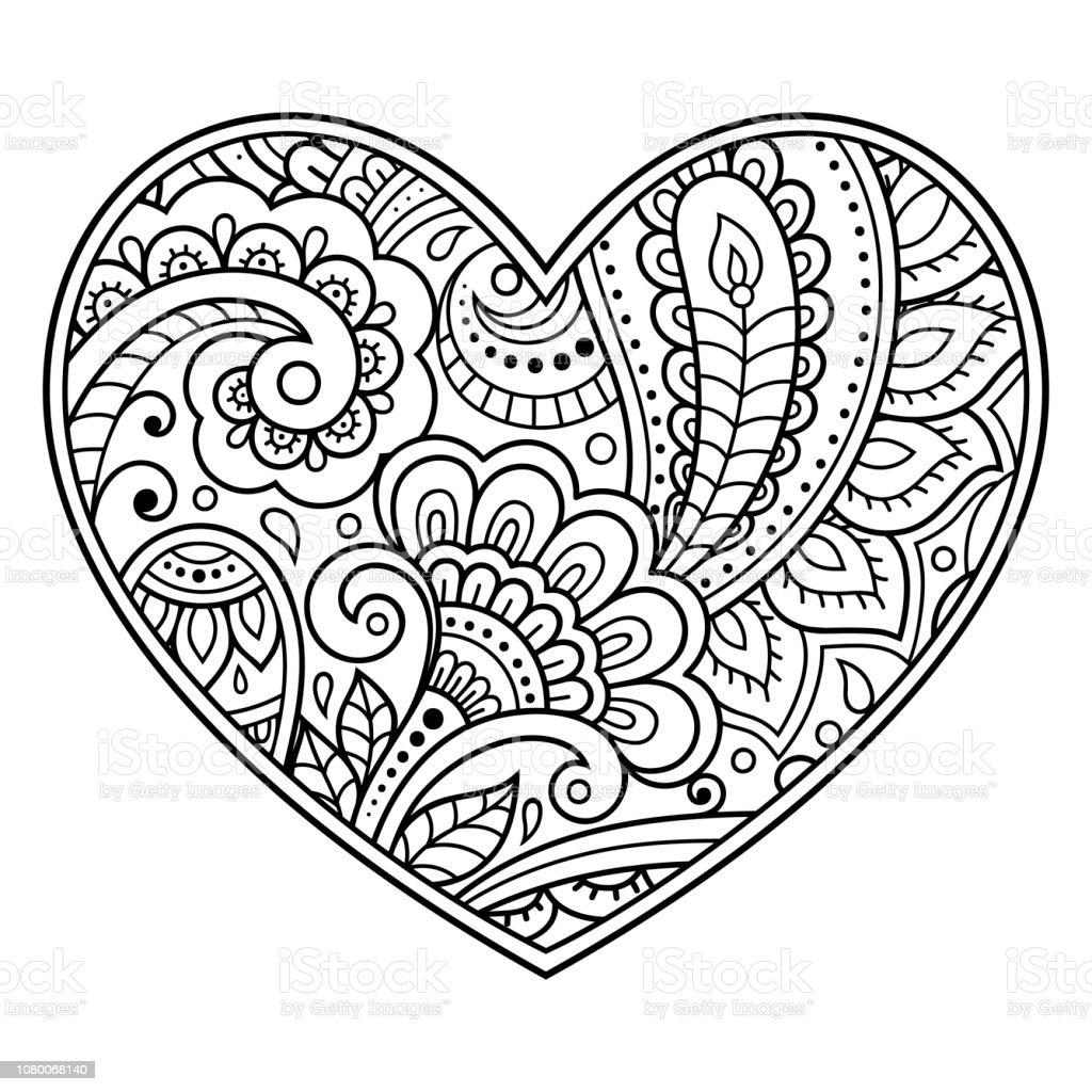 Ilustración De Patrón De Flores De Mehndi En Forma De Corazón Para