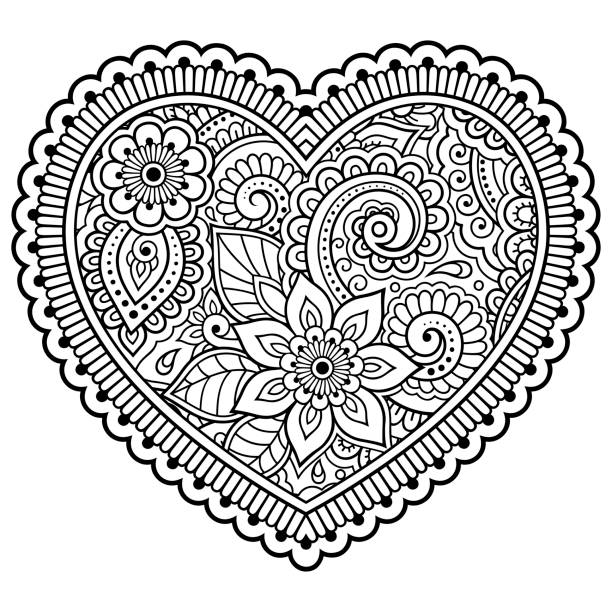 Mehndi flower pattern in form of heart for Henna drawing and tattoo. Decoration in ethnic oriental, Indian style. Valentine's day greetings. Coloring book page. Mehndi flower pattern in form of heart for Henna drawing and tattoo. Decoration in ethnic oriental, Indian style. Valentine's day greetings. Coloring book page. coloring book pages templates stock illustrations