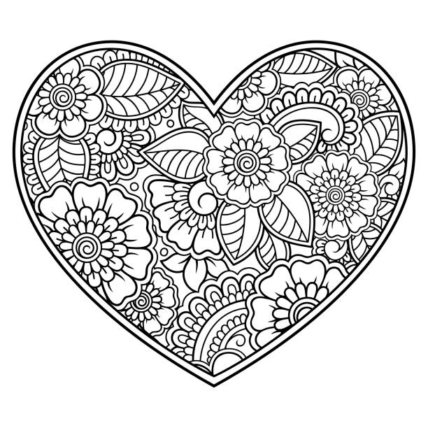 mehndi flower pattern in form of heart for henna drawing and tattoo. decoration in ethnic oriental, indian style. valentine's day greetings. coloring book page. - coloring book pages templates stock illustrations