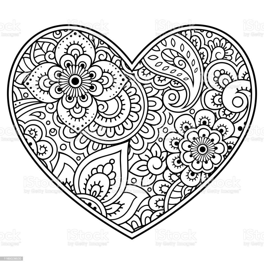 Ilustración De Patrón De Flores Mehndi En Forma De Corazón