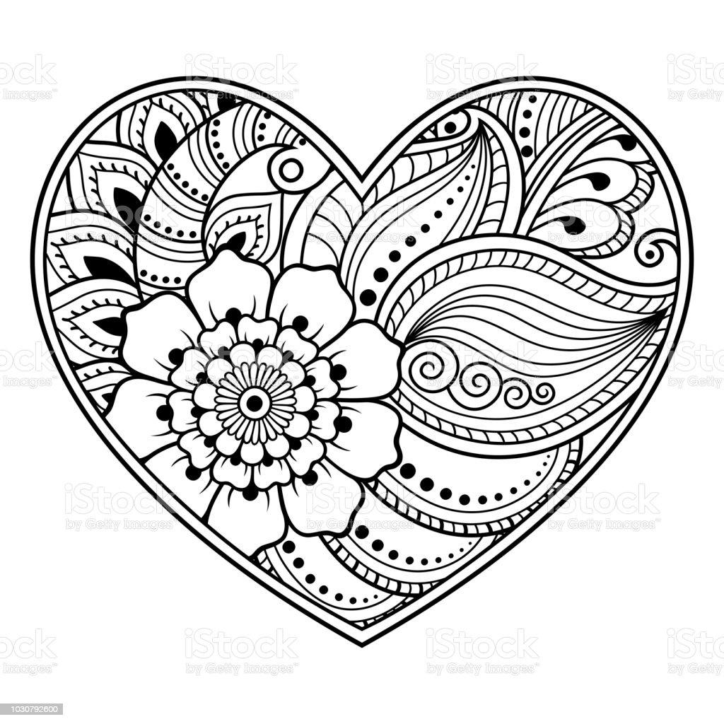Vetores De Mehndi Teste Padrão De Flor Em Forma De Coração Com Lótus Para Desenho De Henna E Tatuagem Decoração Em Estilo étnico Oriental Indiano