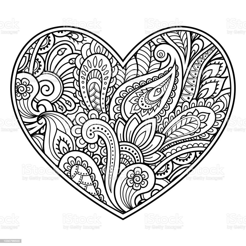 Mehndi Flower Pattern In Form Of Heart With Lotus For Henna Drawing And  Tattoo Decoration In Ethnic Oriental Indian Style Coloring Book Page Stock  ...