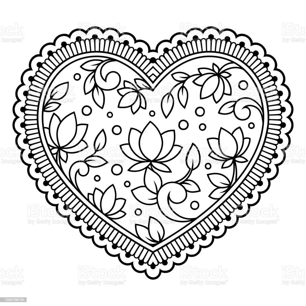 Mehndi Kına çizim Ve Dövme Için Lotus Ile Kalp şeklinde çiçek Deseni