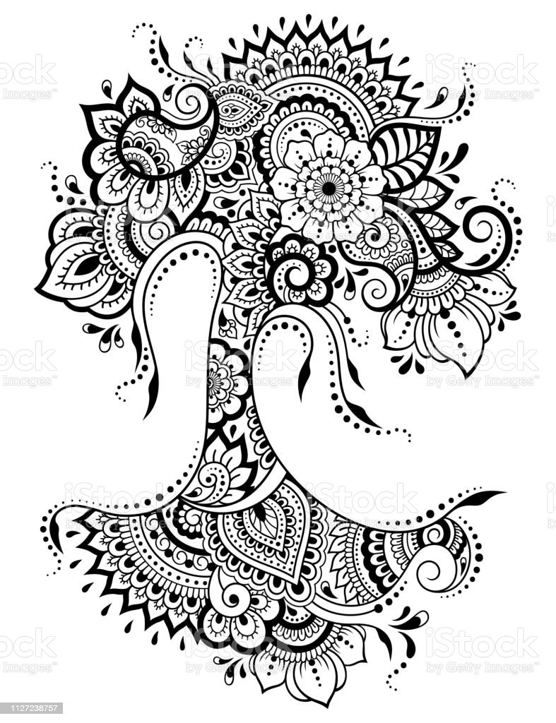 Ilustración De Patrón De Flores De Mehndi En Forma De árbol