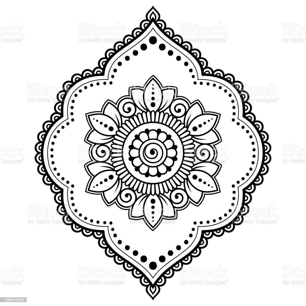 Vetores De Mehndi Teste Padrao De Flor No Quadro Para Desenho De