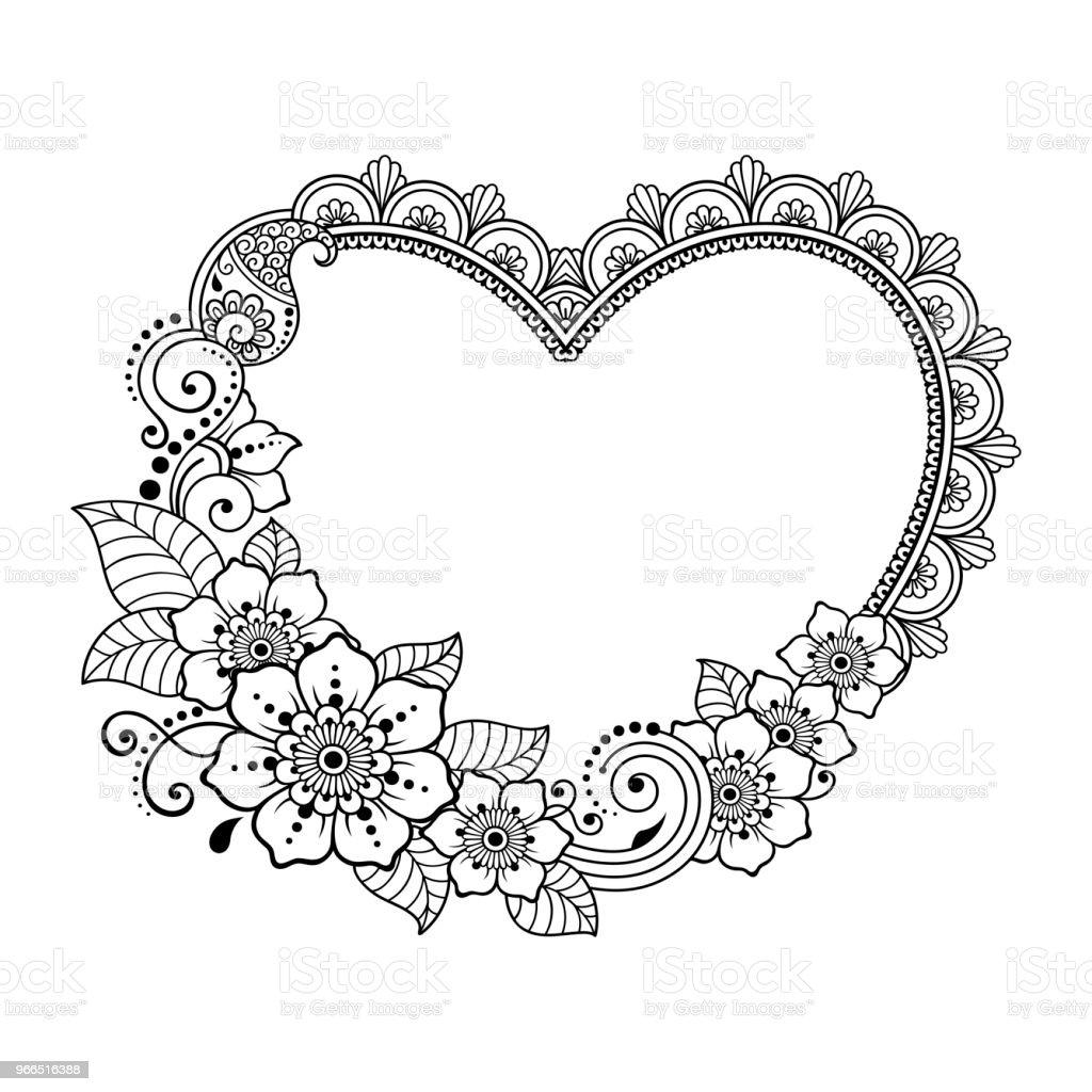 motif de fleurs de mehndi avec c ur pour le dessin de henn et de tatouage d coration de style. Black Bedroom Furniture Sets. Home Design Ideas