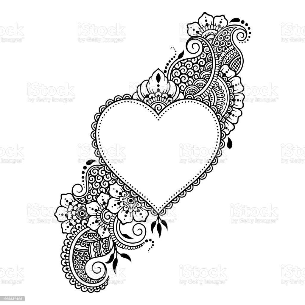 Mehndi flower pattern with heart for henna drawing and for Heart henna tattoo