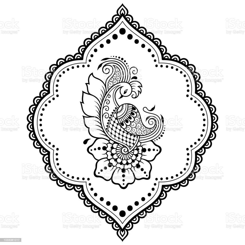 Dessin Pour Henné motif de fleurs de mehndi avec paon pour le dessin de henné et de