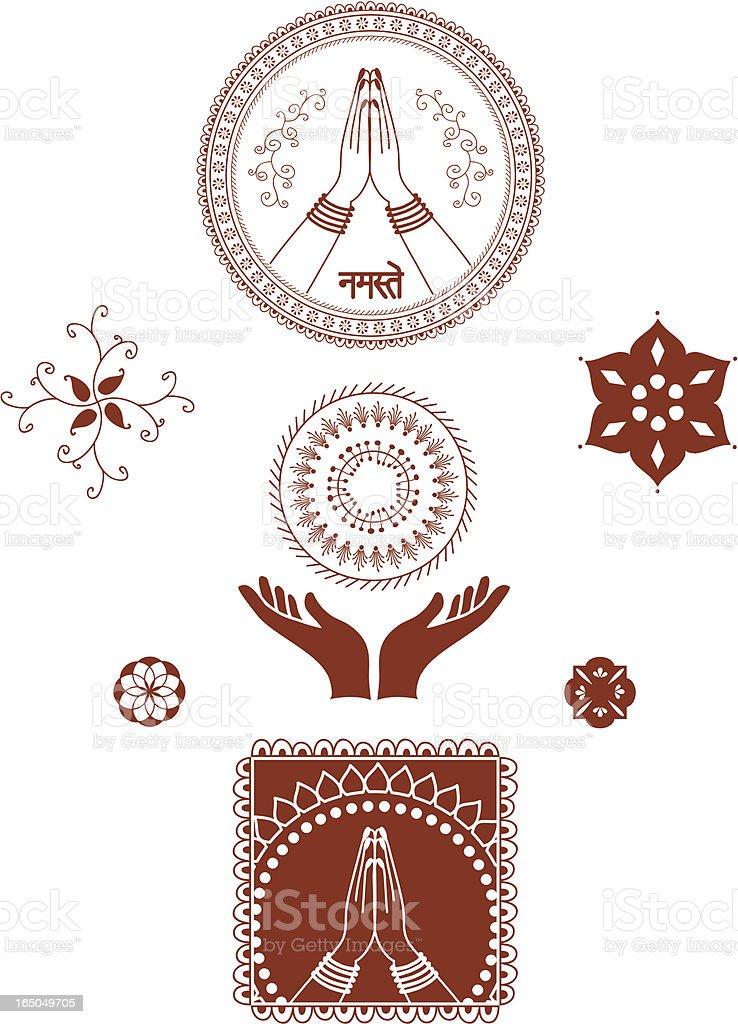 Mehndi Hands (Vector) royalty-free stock vector art