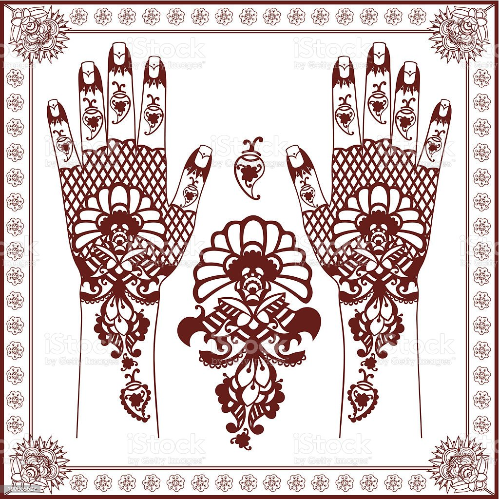 Mehndi. Henna painting on hands royalty-free stock vector art