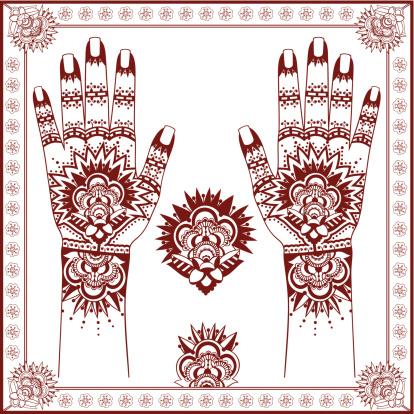 Mehndi. Henna painting on hands