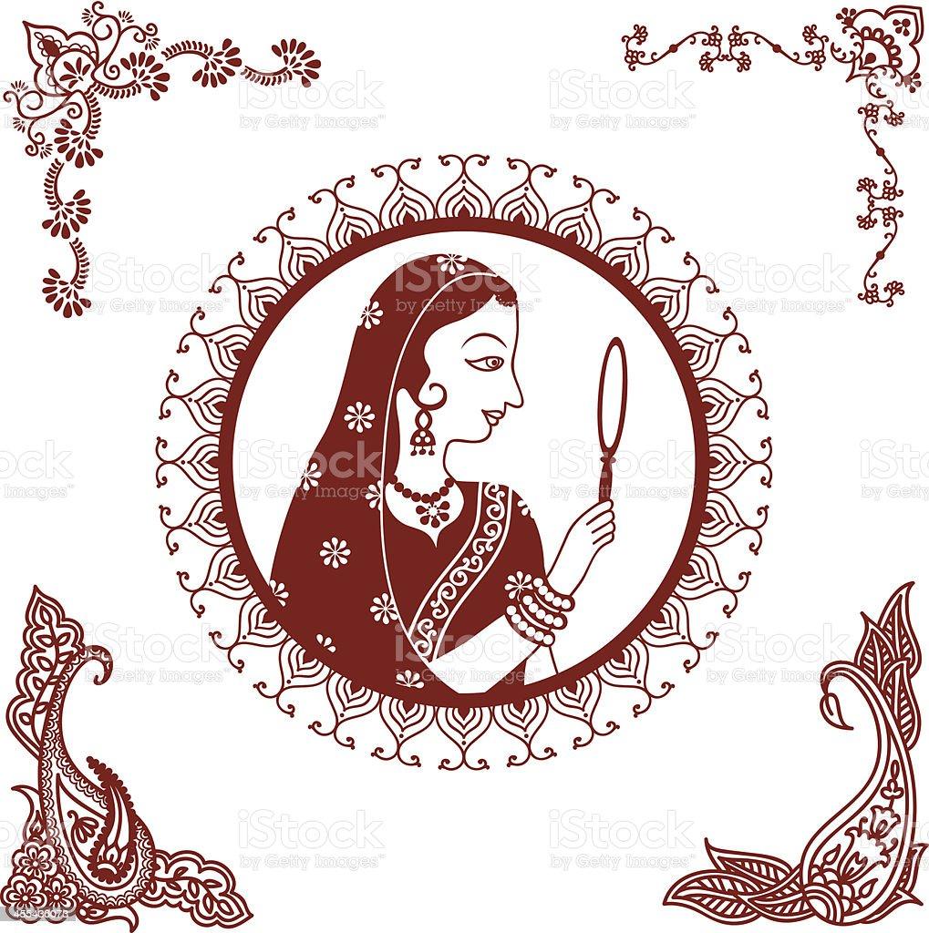 Mehndi (henna) Indian Beauty vector art illustration