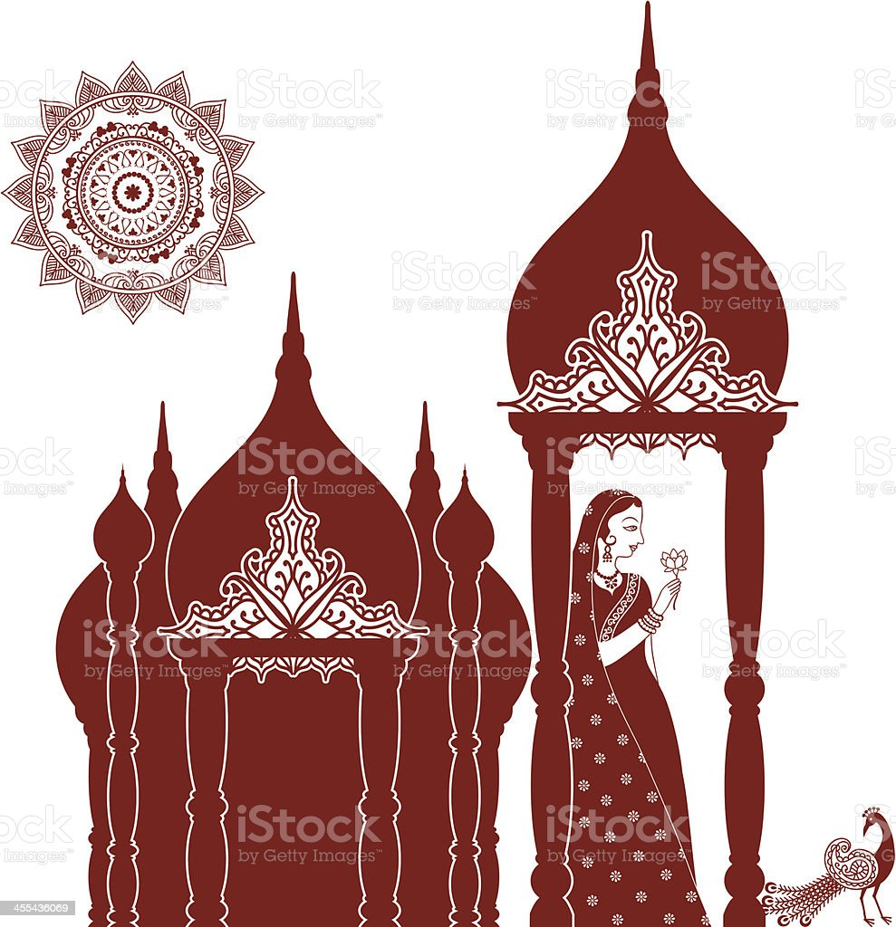 Mehndi (henna) Indian Beauty with Domes vector art illustration