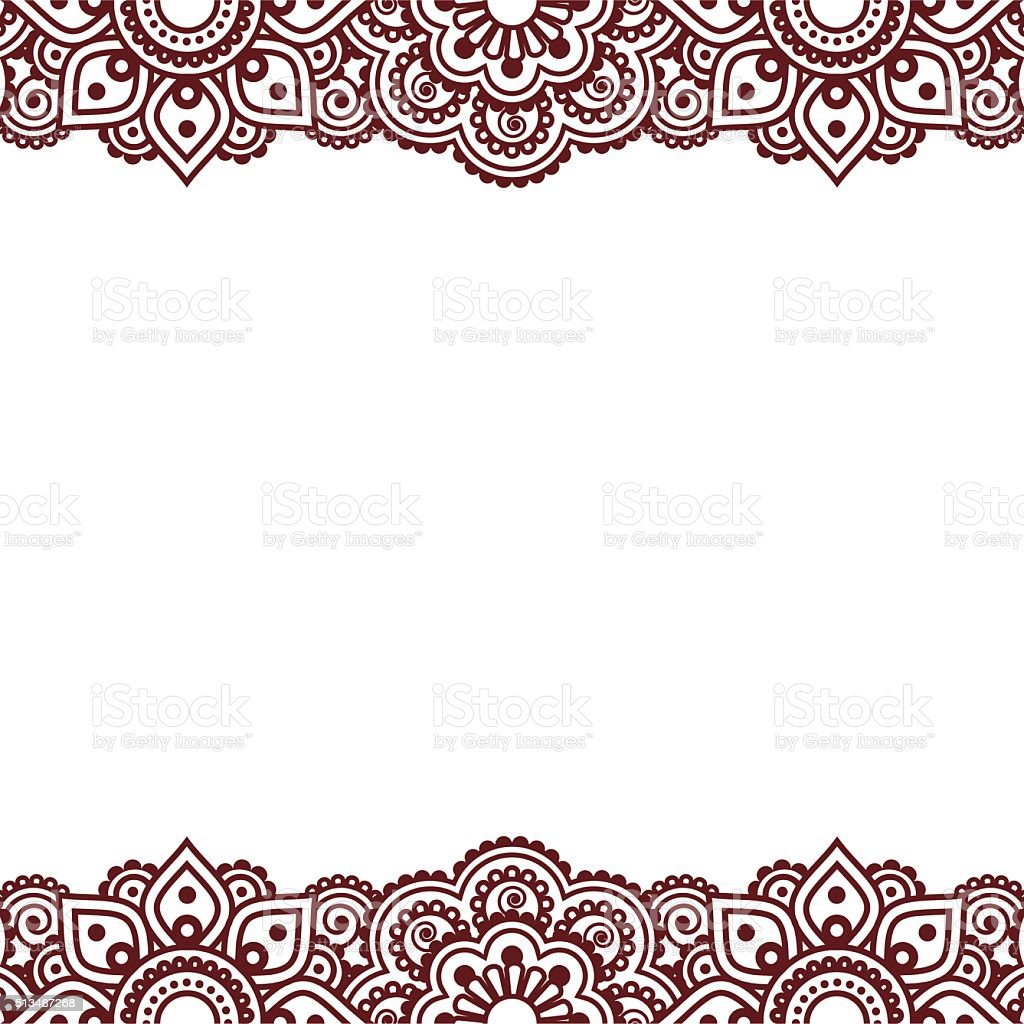 Mehndi, Indian Henna tattoo brown greetings card vector art illustration