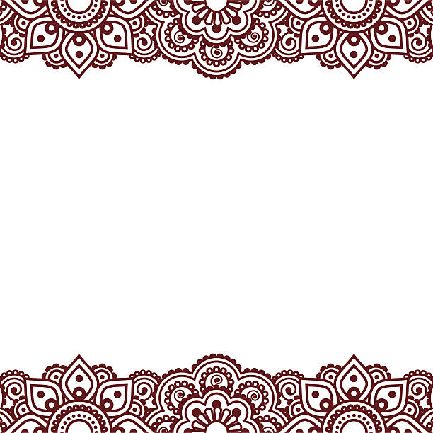 stockillustraties, clipart, cartoons en iconen met mehndi, indian henna tattoo brown greetings card - hennatatoeage