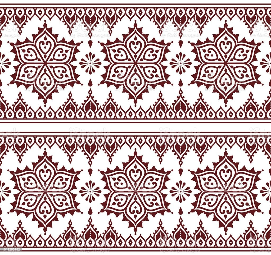 Mehndi, Indian Henna tattoo brown seamless pattern, design elements vector art illustration