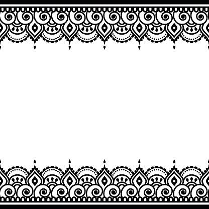 Mehndi, Indian Henna tattoo design - greetings card, lace ornament