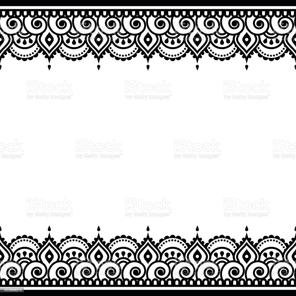 Mehndi, Indian Henna tattoo design - greetings card, lace ornament vector art illustration