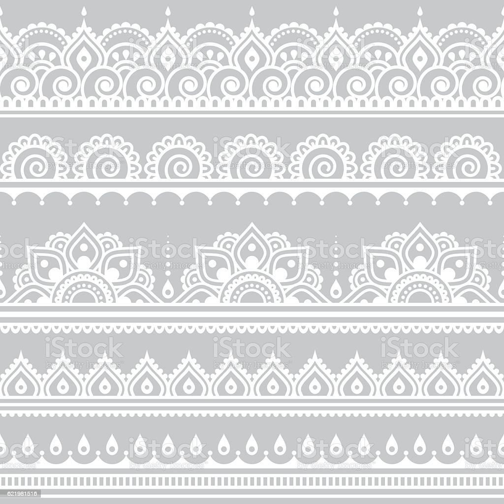 Mehndi, Indian Henna tattoo seamless white pattern on grey background vector art illustration