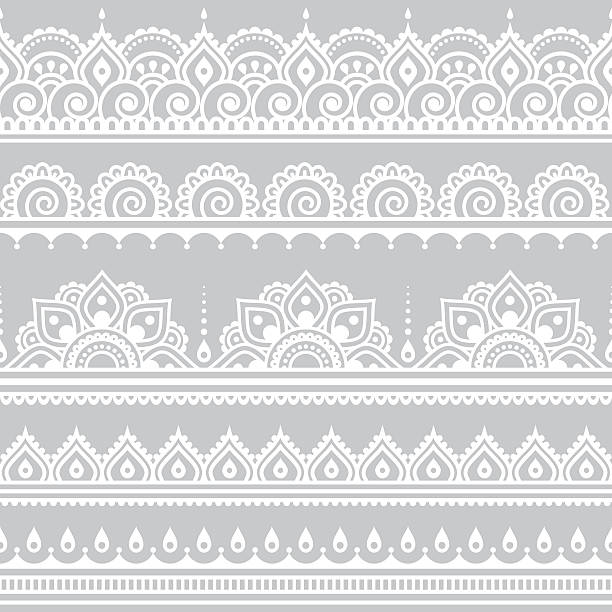 mehndi, indian henna tattoo seamless white pattern on grey background - 인도 인도아 대륙 stock illustrations