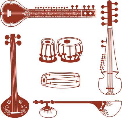 Mehndi Indian Instruments (Vector)