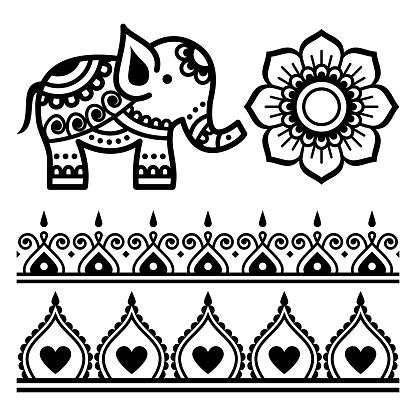 Mehndi Indian vector mandala design elemnents - elephant, floral mandala, henna tattoo paterns set