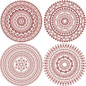 A collection of large mandala designs inspired by the art of mehndi (henna painting).