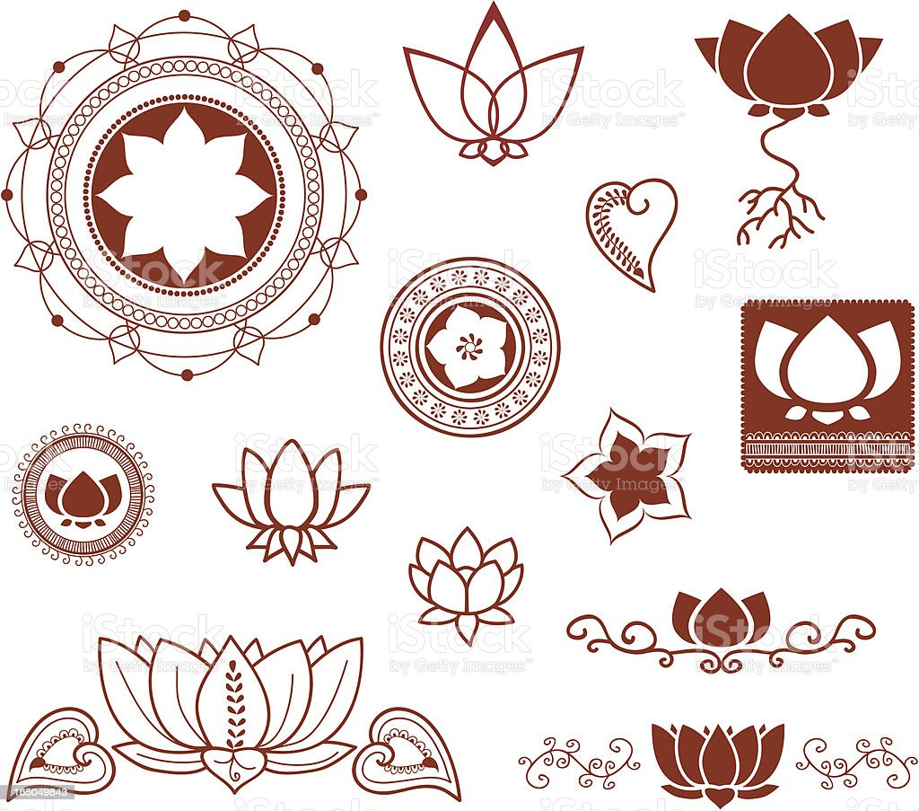 Mehndi Lotus Collection (Vector) vector art illustration