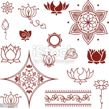 A collection of lotus flowers and lotus buds inspired by the art of henna painting (mehndi). (Includes .jpg)