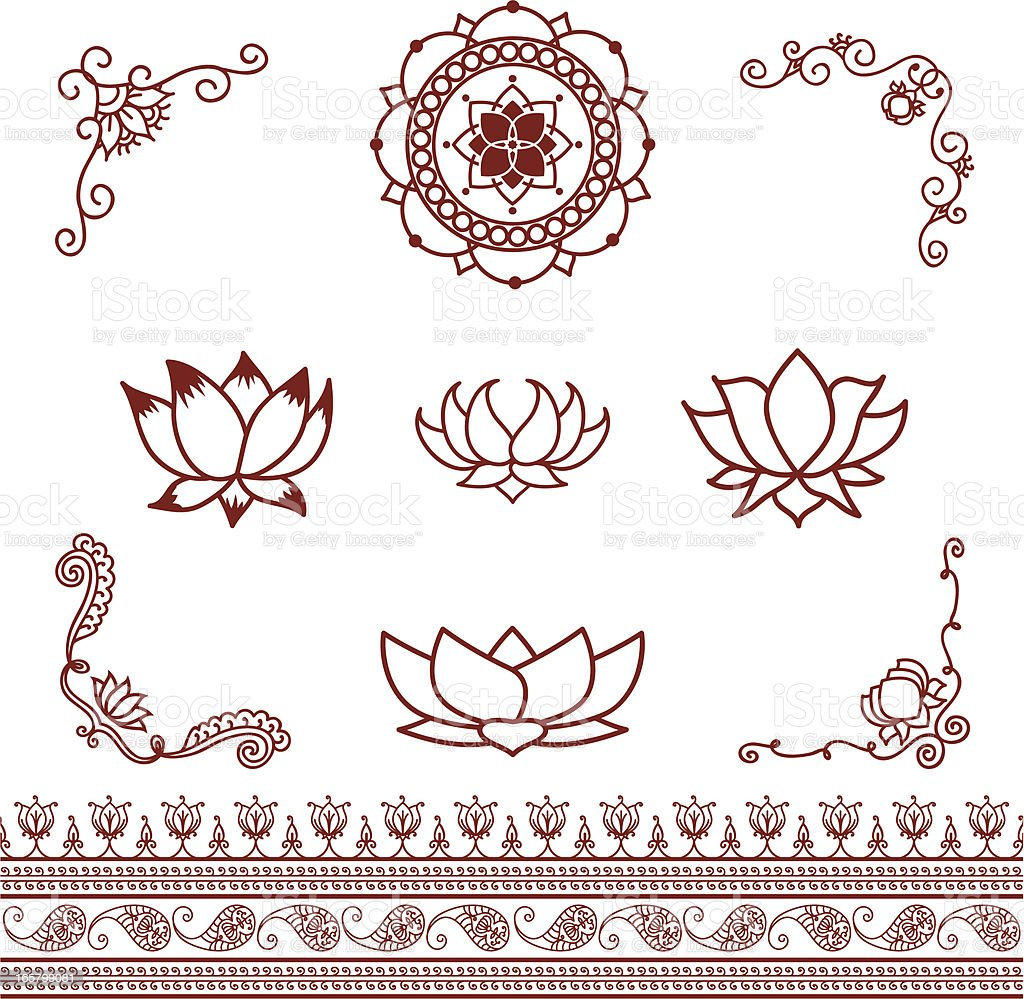 Mehndi Lotus Elements vector art illustration