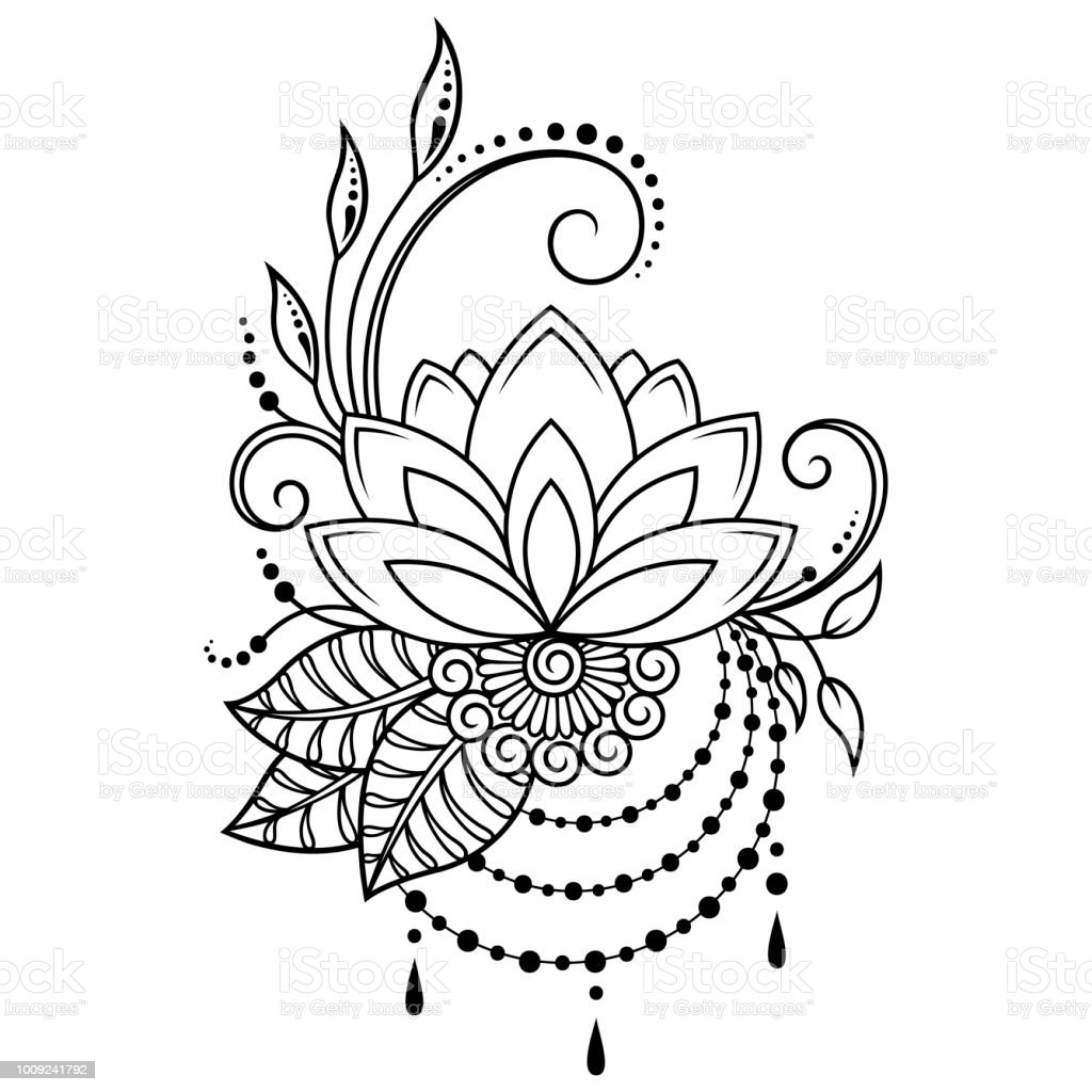 b1e4ac795 Mehndi lotus flower pattern for Henna drawing and tattoo. Decoration in  ethnic oriental, Indian style. - Illustration .