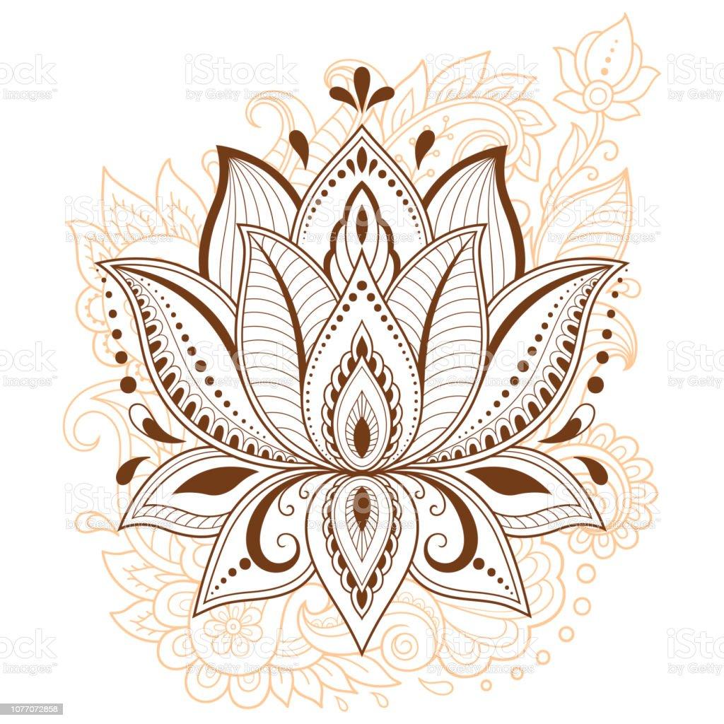 Motif De Fleurs De Lotus Mehndi Pour Le Dessin De Henne Et De