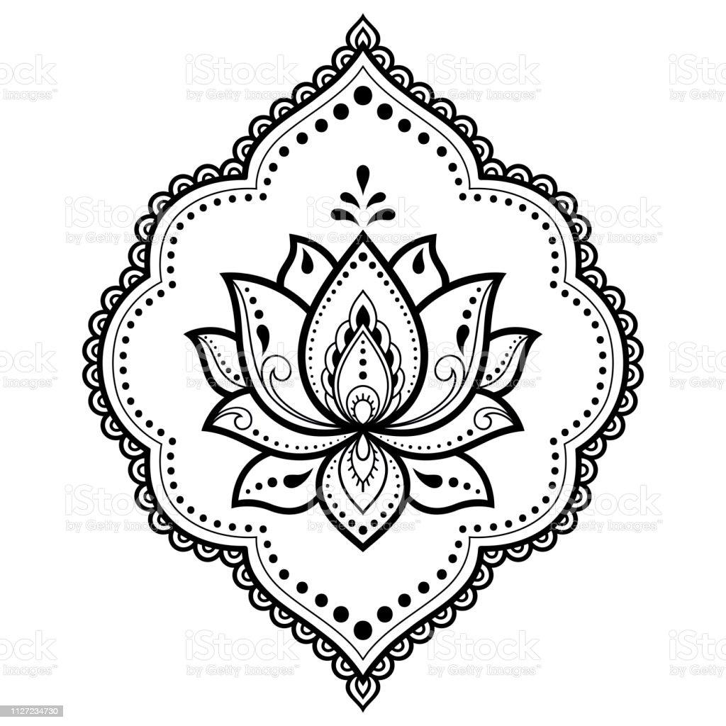 Vetores De Padrao De Flor De Mehndi Lotus Para Desenho De Henna E