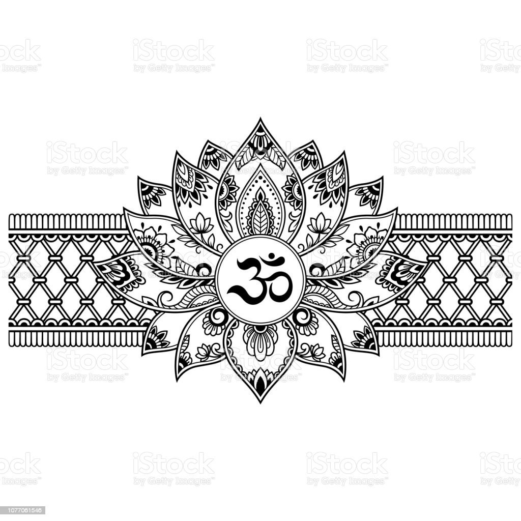 177c8e9e1 East Asia, India, USA, Abstract, Art. Mehndi Lotus flower pattern with  mantra OM symbol and border for Henna drawing and tattoo.