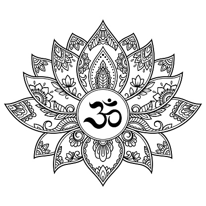 9a380617a ... Abstract Mehndi Lotus Flower Pattern With Mantra Om Symbol For Henna  Drawing And Tattoo Decoration Mandala In