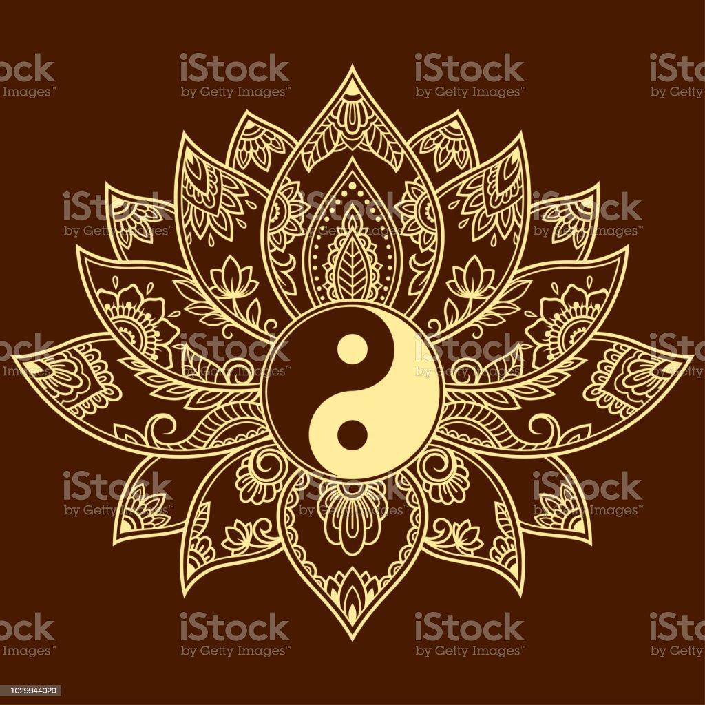 Mehndi Lotus Flower Pattern With Yinyang Symbol For Henna Drawing