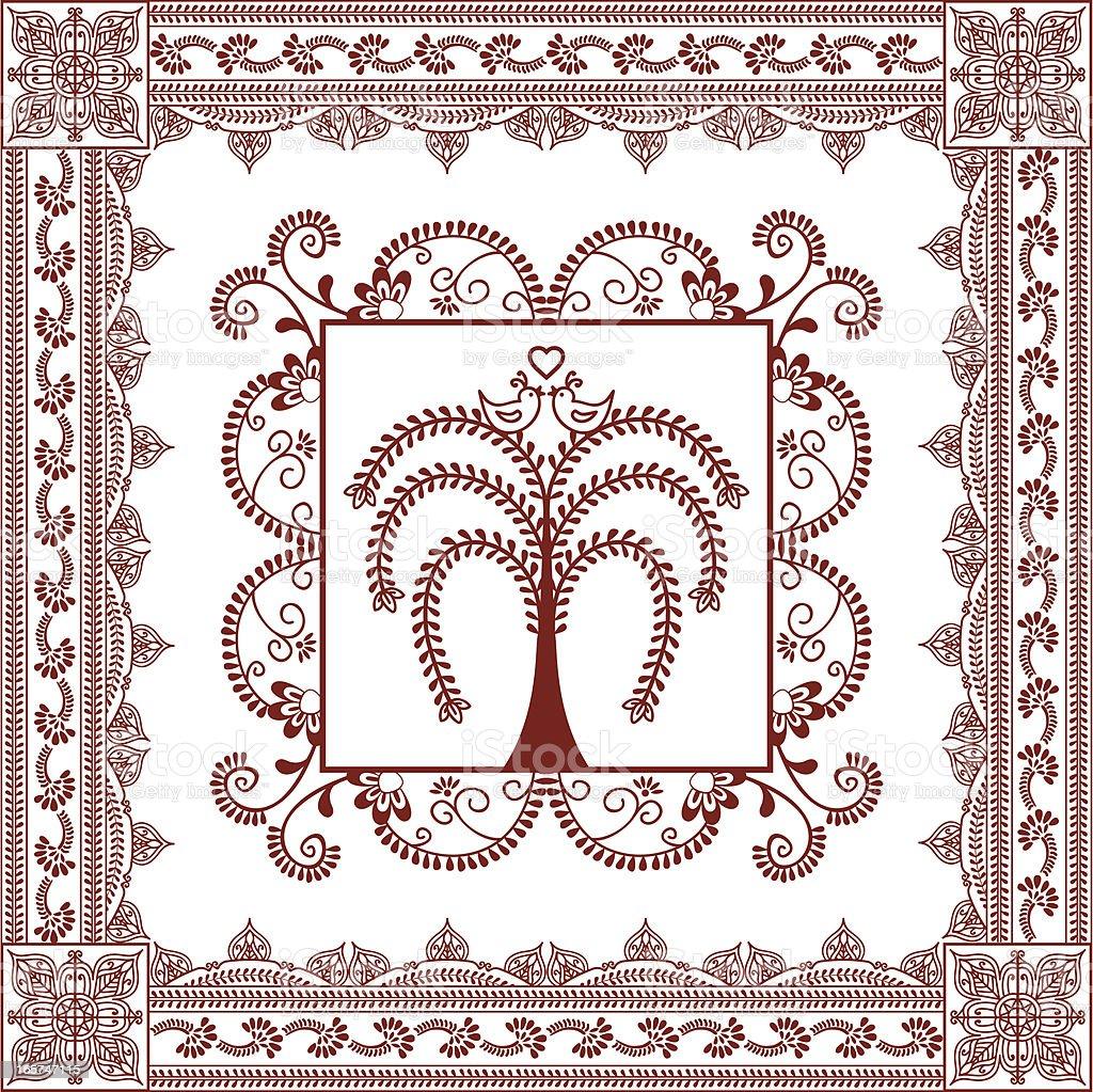 Mehndi Lovebird Tree vector art illustration