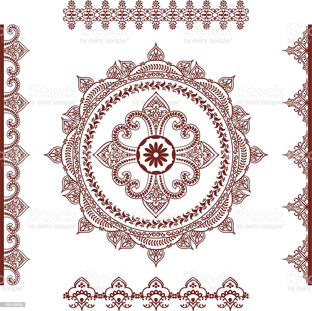 Mehndi (henna) Mandala and Borders vector art illustration