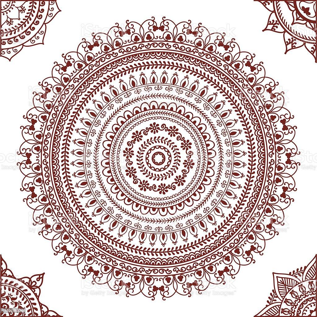 Mehndi Mandala with Corners royalty-free stock vector art