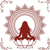 A meditating figure in a lotus surrounded by a mandala, drawn in mehndi (henna painting) style. Also, four detailed corner designs. (includes .jpg)
