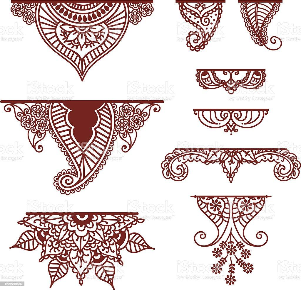 Mehndi Ornaments A collection of decorative ornaments - featuring lots of paisley designs drawn in a mehndi (henna) style. (Includes .jpg) Arrangement stock vector