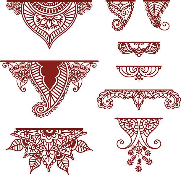 stockillustraties, clipart, cartoons en iconen met mehndi ornaments - hennatatoeage