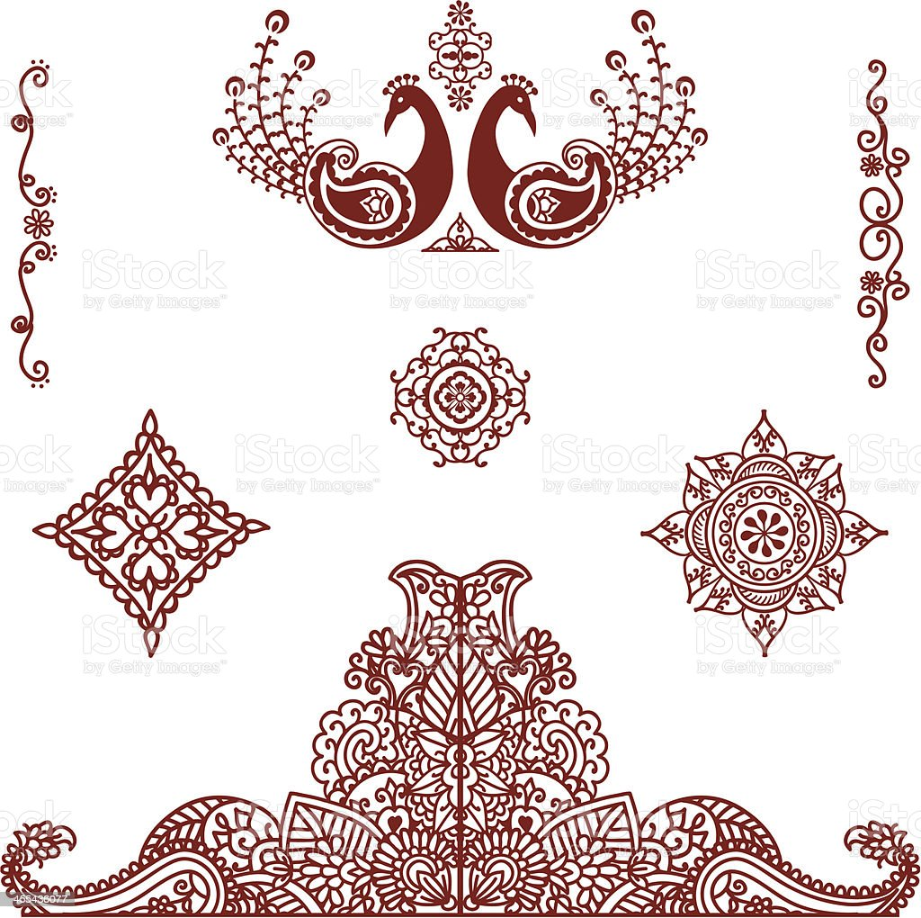 Henna Mehndi Vector Free Download : Mehndi ornaments stock vector art more images of animal istock