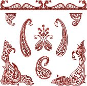 A collection of ornate paisley designs, corners and borders, inspired by the art of mehndi (henna painting). (includes .jpg)