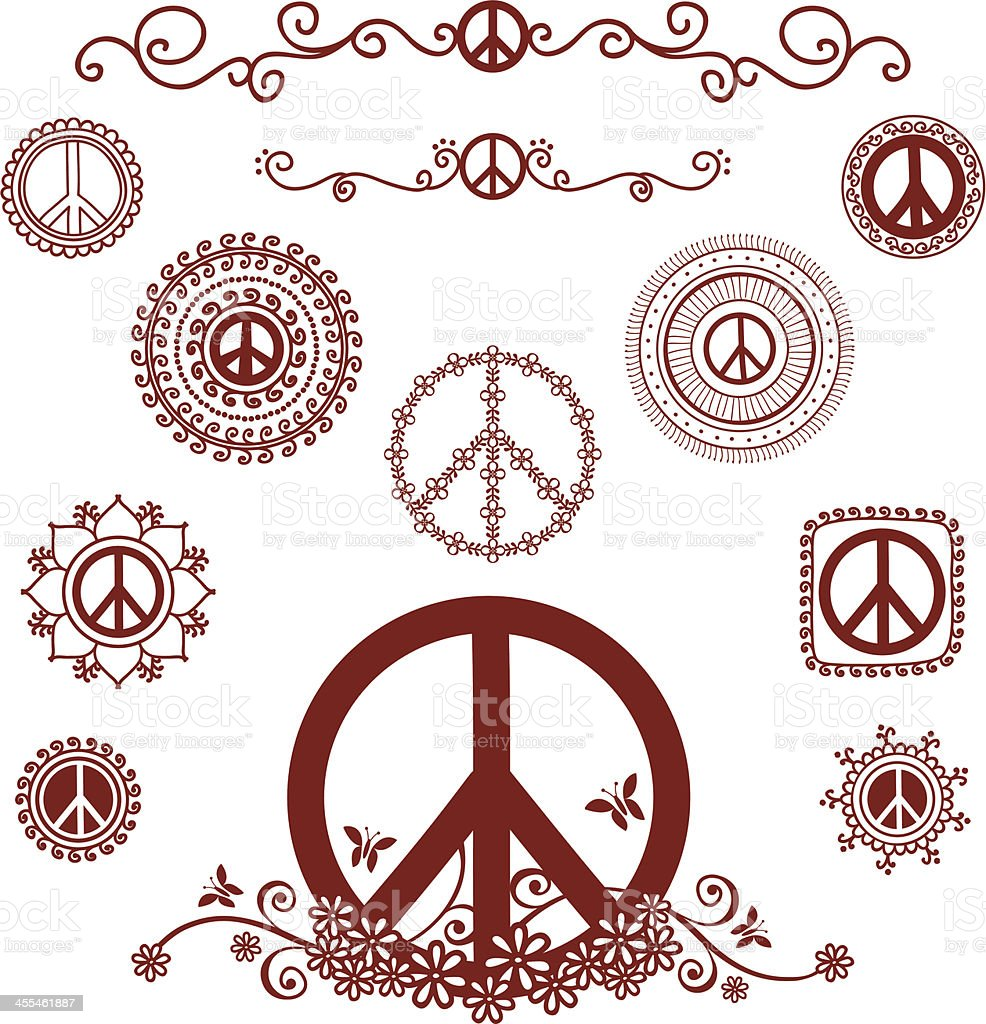 Mehndi Peace Symbols royalty-free stock vector art